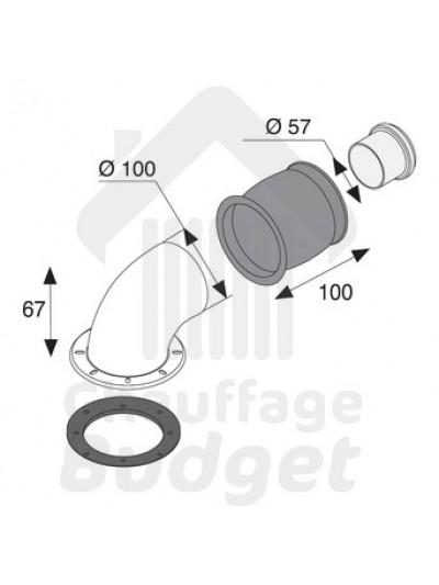 Saunier Duval 85096: Coude de ventouse pour remplacement 623, Thélia 623, Thélia 23, Théma 23 en gardant ventouse existante